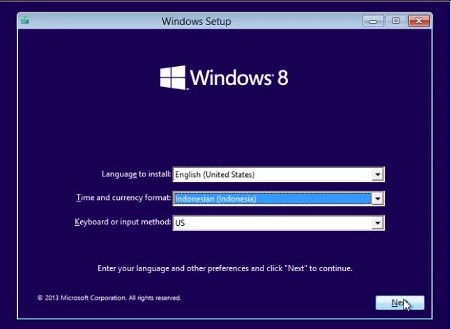 Langkah 2 Install Windows 8
