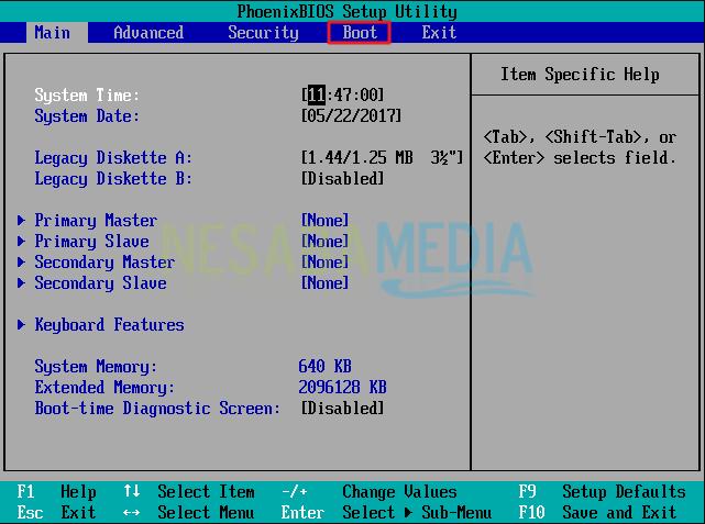 Langkah 2 Setting BIOS Install Windows 8