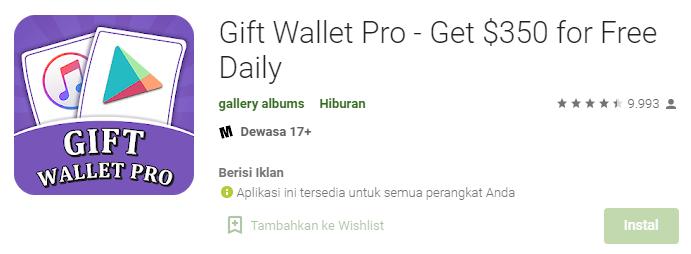 Aplikasi Gift Wallet Pro