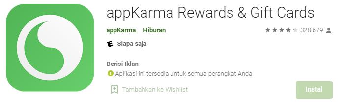 Aplikasi appKarma Rewards & Gift Cards