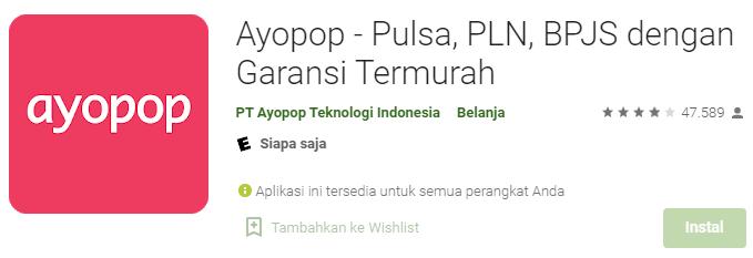 Aplikasi Jual Pulsa Ayopop