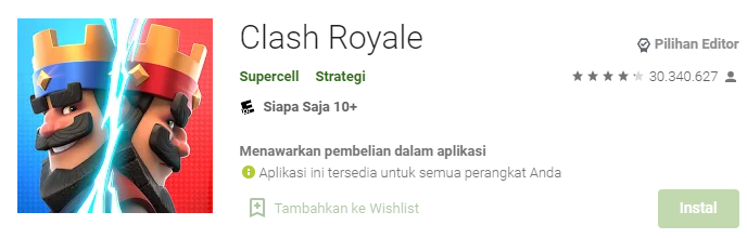 Aplikasi Game Penghasil Uang Clash Royale