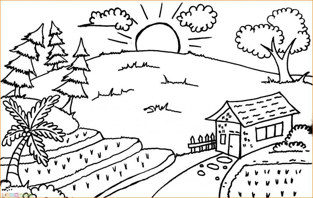 Sketsa Pemandangan Simple