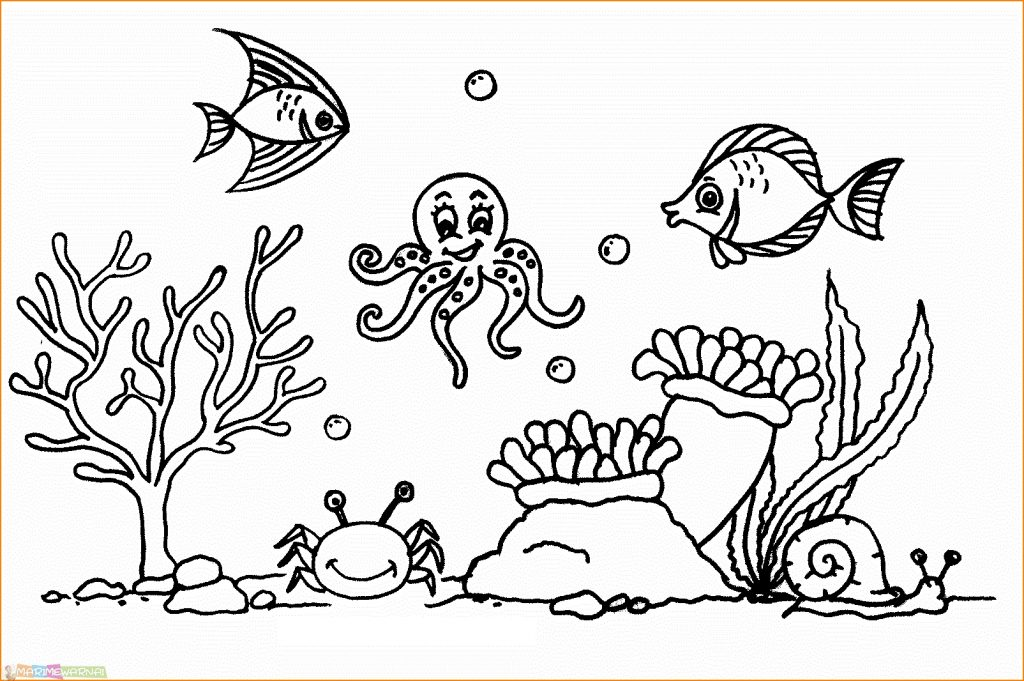 Sketsa Gambar Pemandangan Bawah Laut