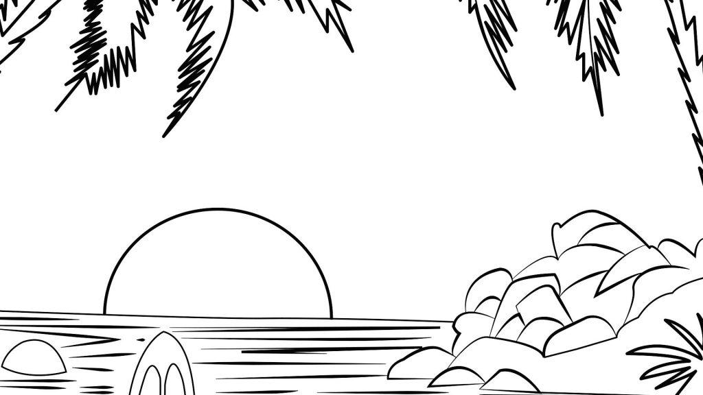 Sketsa Pemandangan Laut
