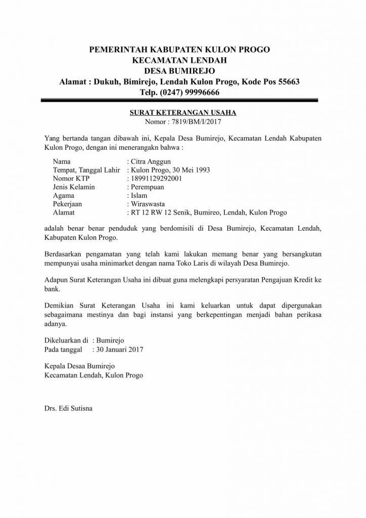 Contoh Surat Keterangan Usahah untuk Pengajuan Kredit Ke Bank